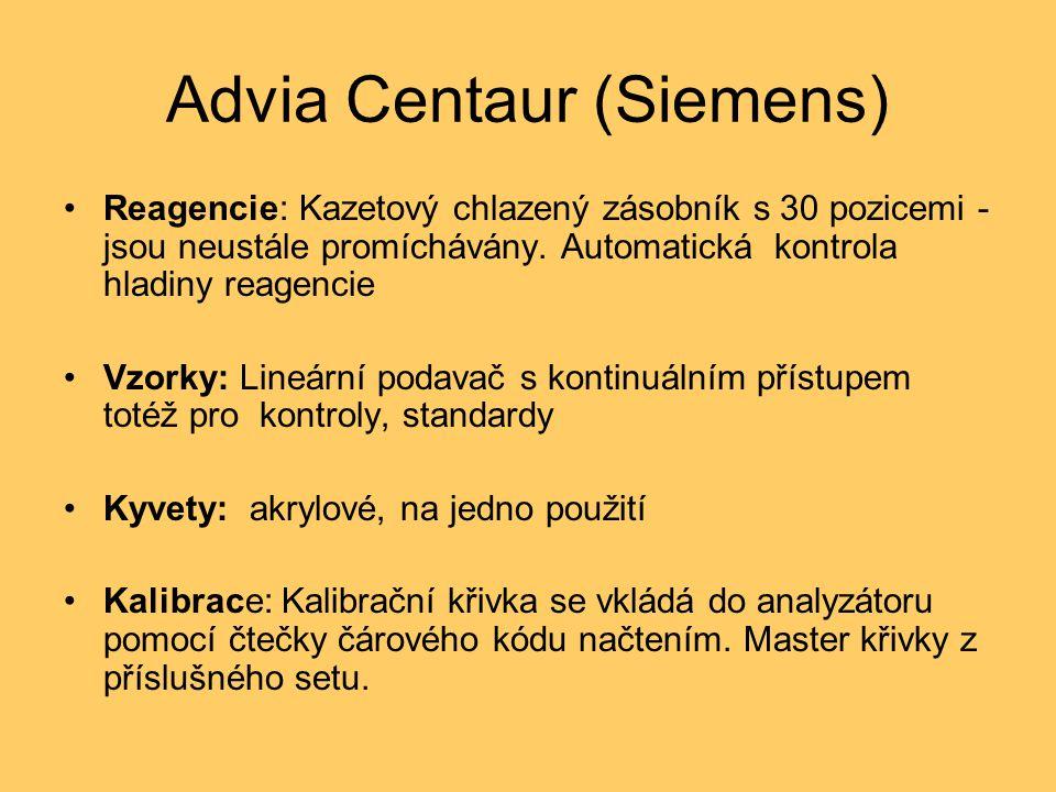 Advia Centaur (Siemens) Reagencie: Kazetový chlazený zásobník s 30 pozicemi - jsou neustále promíchávány. Automatická kontrola hladiny reagencie Vzork