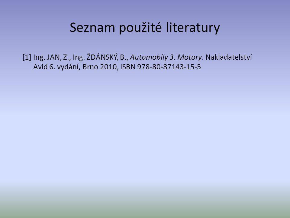 Seznam použité literatury [1] Ing.JAN, Z., Ing. ŽDÁNSKÝ, B., Automobily 3.