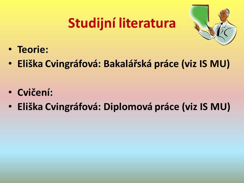 Studijní literatura Teorie: Eliška Cvingráfová: Bakalářská práce (viz IS MU) Cvičení: Eliška Cvingráfová: Diplomová práce (viz IS MU)