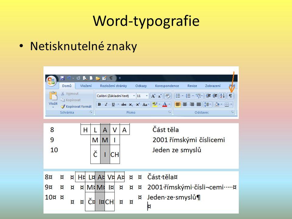 Word-typografie Netisknutelné znaky