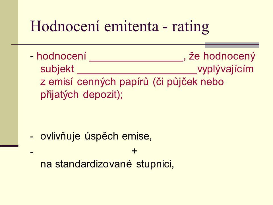 Hodnocení emitenta - rating - hodnocení, že hodnocený subjekt vyplývajícím z emisí cenných papírů (či půjček nebo přijatých depozit); - ovlivňuje úspěch emise, - + na standardizované stupnici,
