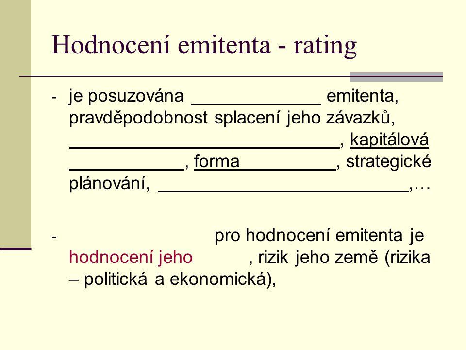 Hodnocení emitenta - rating - je posuzována emitenta, pravděpodobnost splacení jeho závazků,, kapitálová, forma, strategické plánování,,… - pro hodnocení emitenta je hodnocení jeho, rizik jeho země (rizika – politická a ekonomická),