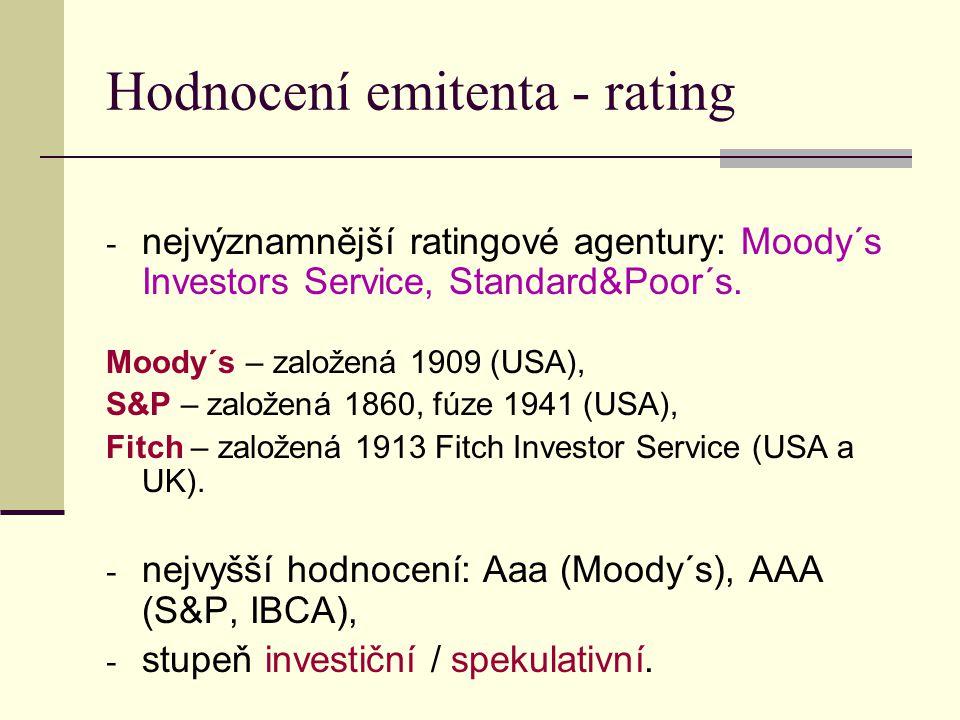 Hodnocení emitenta - rating - nejvýznamnější ratingové agentury: Moody´s Investors Service, Standard&Poor´s. Moody´s – založená 1909 (USA), S&P – zalo