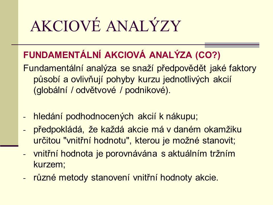 AKCIOVÉ ANALÝZY FUNDAMENTÁLNÍ AKCIOVÁ ANALÝZA (CO?) Fundamentální analýza se snaží předpovědět jaké faktory působí a ovlivňují pohyby kurzu jednotlivý