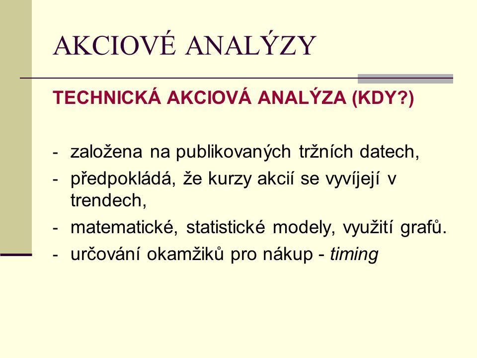 AKCIOVÉ ANALÝZY TECHNICKÁ AKCIOVÁ ANALÝZA (KDY ) - založena na publikovaných tržních datech, - předpokládá, že kurzy akcií se vyvíjejí v trendech, - matematické, statistické modely, využití grafů.