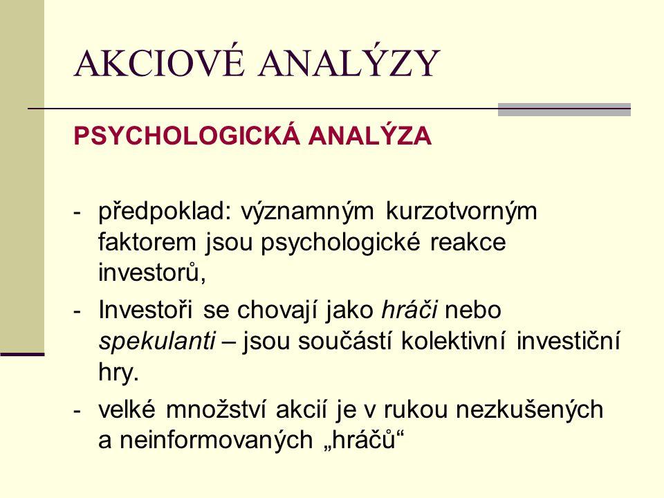 AKCIOVÉ ANALÝZY PSYCHOLOGICKÁ ANALÝZA - předpoklad: významným kurzotvorným faktorem jsou psychologické reakce investorů, - Investoři se chovají jako hráči nebo spekulanti – jsou součástí kolektivní investiční hry.