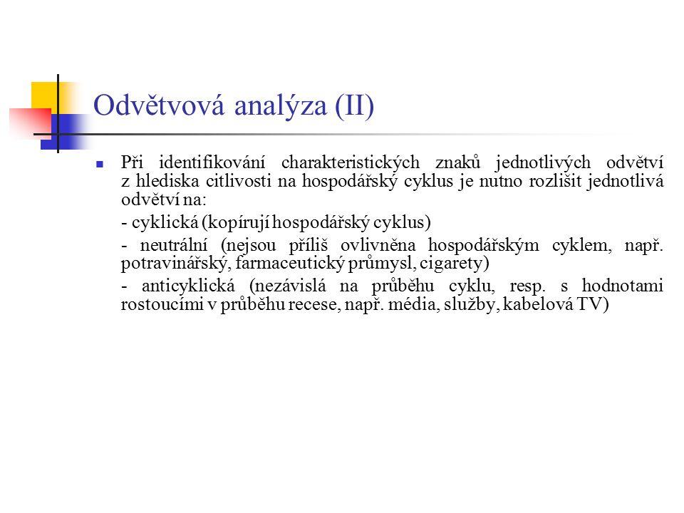 Odvětvová analýza (II) Při identifikování charakteristických znaků jednotlivých odvětví z hlediska citlivosti na hospodářský cyklus je nutno rozlišit