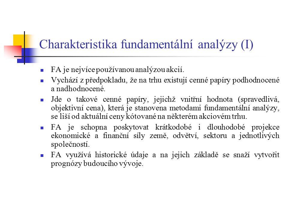Charakteristika fundamentální analýzy (I) FA je nejvíce používanou analýzou akcií. Vychází z předpokladu, že na trhu existují cenné papíry podhodnocen