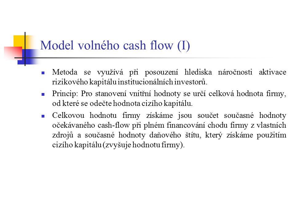 Model volného cash flow (I) Metoda se využívá při posouzení hlediska náročnosti aktivace rizikového kapitálu institucionálních investorů. Princip: Pro