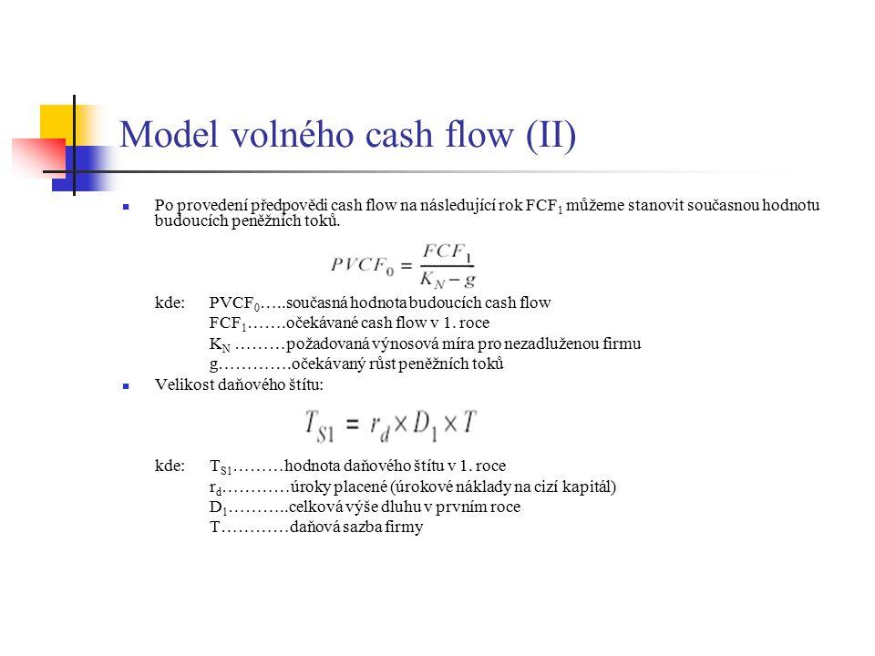 Model volného cash flow (II) Po provedení předpovědi cash flow na následující rok FCF 1 můžeme stanovit současnou hodnotu budoucích peněžních toků. kd