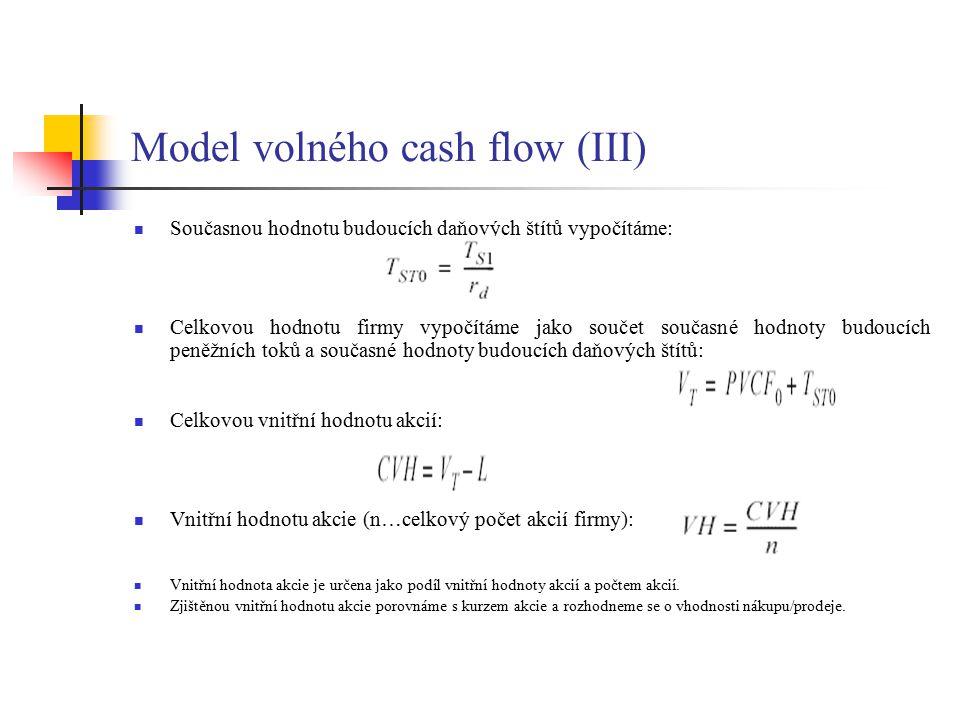 Model volného cash flow (III) Současnou hodnotu budoucích daňových štítů vypočítáme: Celkovou hodnotu firmy vypočítáme jako součet současné hodnoty bu