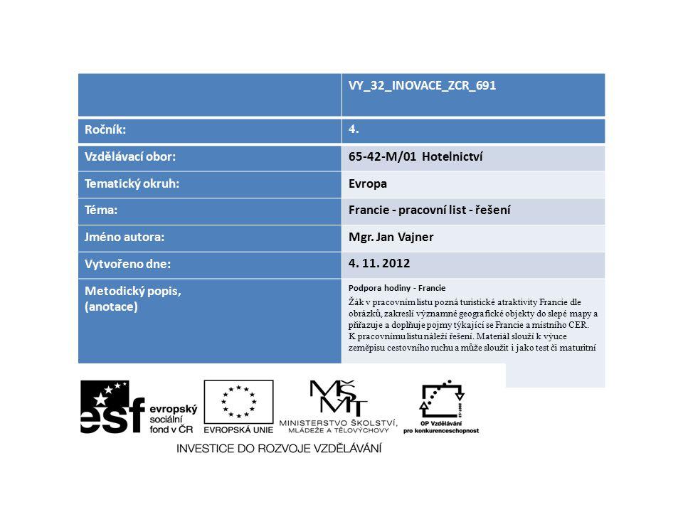 VY_32_INOVACE_ZCR_691 Ročník: 4. Vzdělávací obor:65-42-M/01 Hotelnictví Tematický okruh:Evropa Téma:Francie - pracovní list - řešení Jméno autora:Mgr.