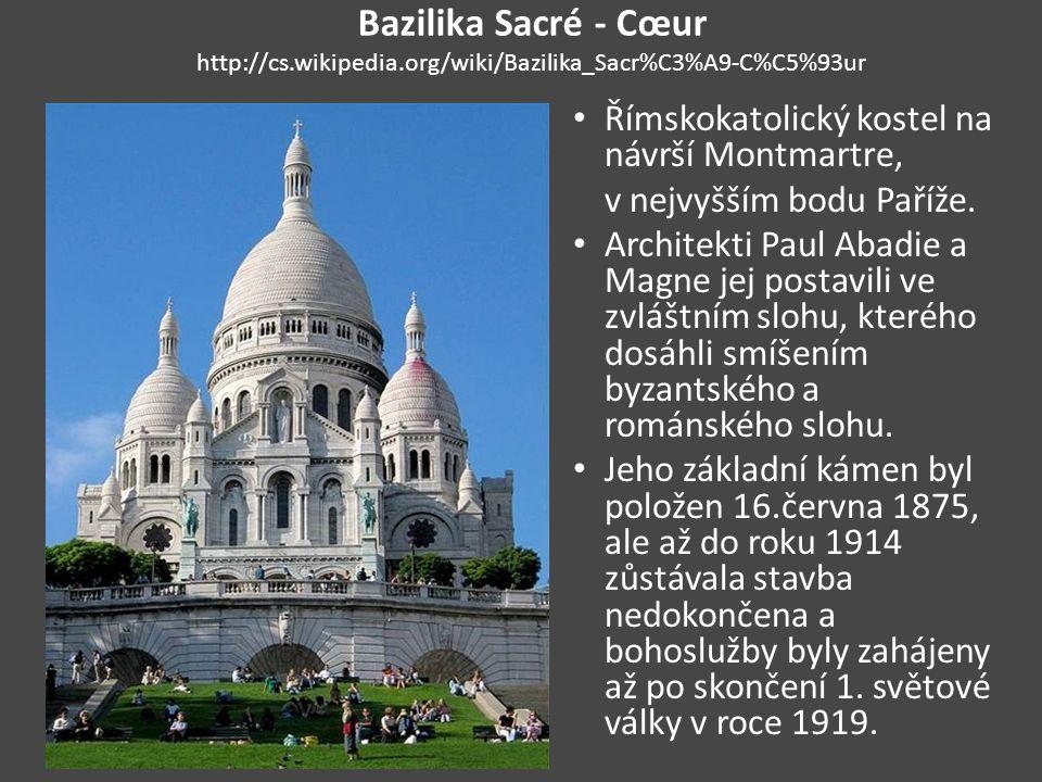 Eiffelova věž http://cs.wikipedia.org/wiki/Eiffelova_v%C4%9B%C5%BE Byla postavena v letech 1887 až 1889 u příležitosti stého výročí Francouzské revoluce a Světové výstavy, která se v roce 1889 v Paříži konala, a měla zde původně stát jen 20 let do roku 1909.
