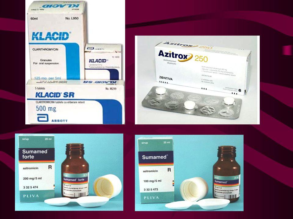 Linkosamidy a jejich praktické použití Používá se linkomycin (LINCOCIN) a klindamycin (DALACIN C) Rezervní antibiotika určená zejména pro použití v orotpedii, chirurgii a stomatologii Velmi dobrý účinek na většinu anaerobů (což je i negativum – vybití běžné flóry střeva) Výjimkou je Clostridium difficile – riziko pseudomembranosní enterokolitidy