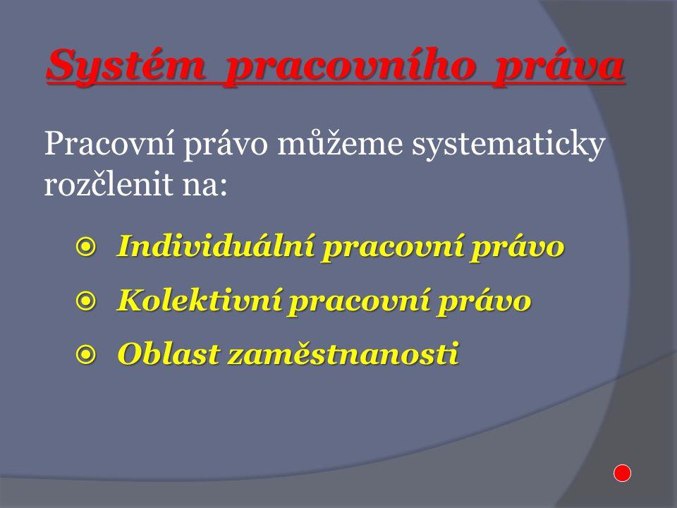 Systém pracovního práva Pracovní právo můžeme systematicky rozčlenit na:  Individuální pracovní právo  Kolektivní pracovní právo  Oblast zaměstnanosti