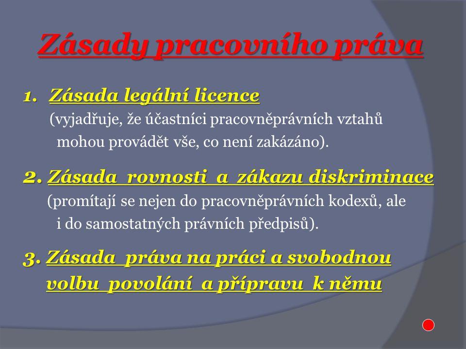 Zásady pracovního práva 1.Zásada legální licence (vyjadřuje, že účastníci pracovněprávních vztahů mohou provádět vše, co není zakázáno).