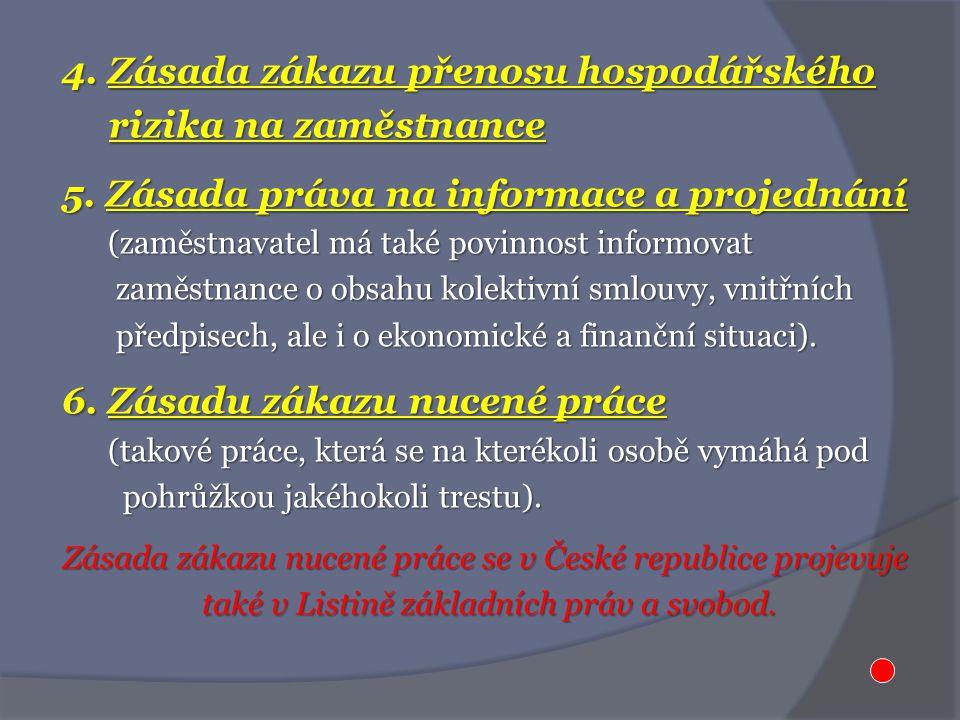 4. Zásada zákazu přenosu hospodářského rizika na zaměstnance rizika na zaměstnance 5.