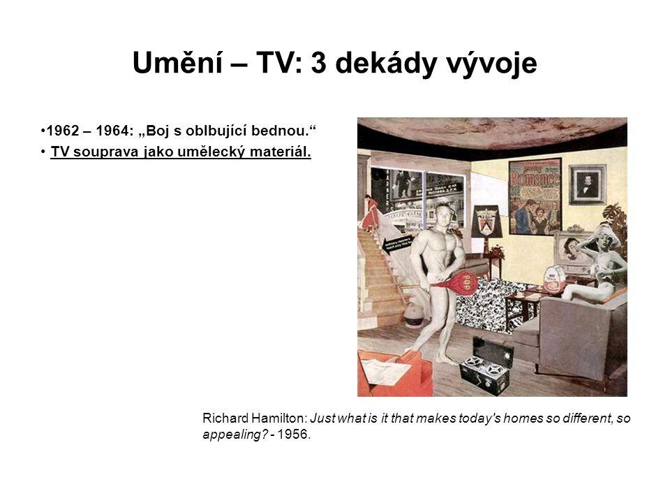 """Umění – TV: 3 dekády vývoje 1962 – 1964: """"Boj s oblbující bednou."""" TV souprava jako umělecký materiál. Richard Hamilton: Just what is it that makes to"""