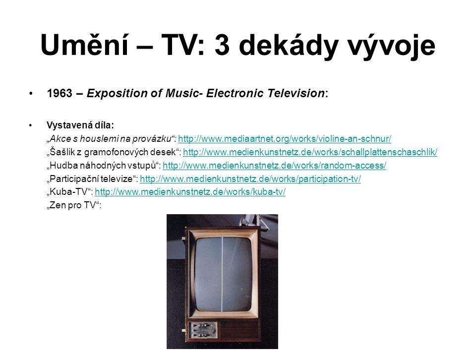 """Umění – TV: 3 dekády vývoje 1963 – Exposition of Music- Electronic Television: Vystavená díla: """"Akce s houslemi na provázku"""": http://www.mediaartnet.o"""