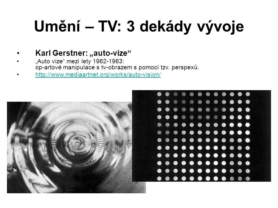 """Umění – TV: 3 dekády vývoje Karl Gerstner: """"auto-vize"""" """"Auto vize"""" mezi lety 1962-1963: op-artové manipulace s tv-obrazem s pomocí tzv. perspexů. http"""