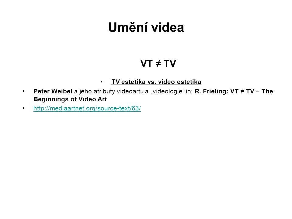 "Umění videa VT ≠ TV TV estetika vs. video estetika Peter Weibel a jeho atributy videoartu a ""videologie"" in: R. Frieling: VT ≠ TV – The Beginnings of"