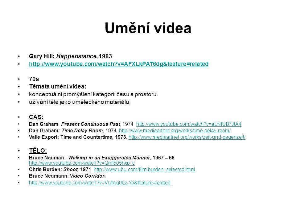 Umění videa Gary Hill: Happenstance, 1983 http://www.youtube.com/watch?v=AFXLkPAT6dg&feature=related 70s Témata umění videa: konceptuální promýšlení k