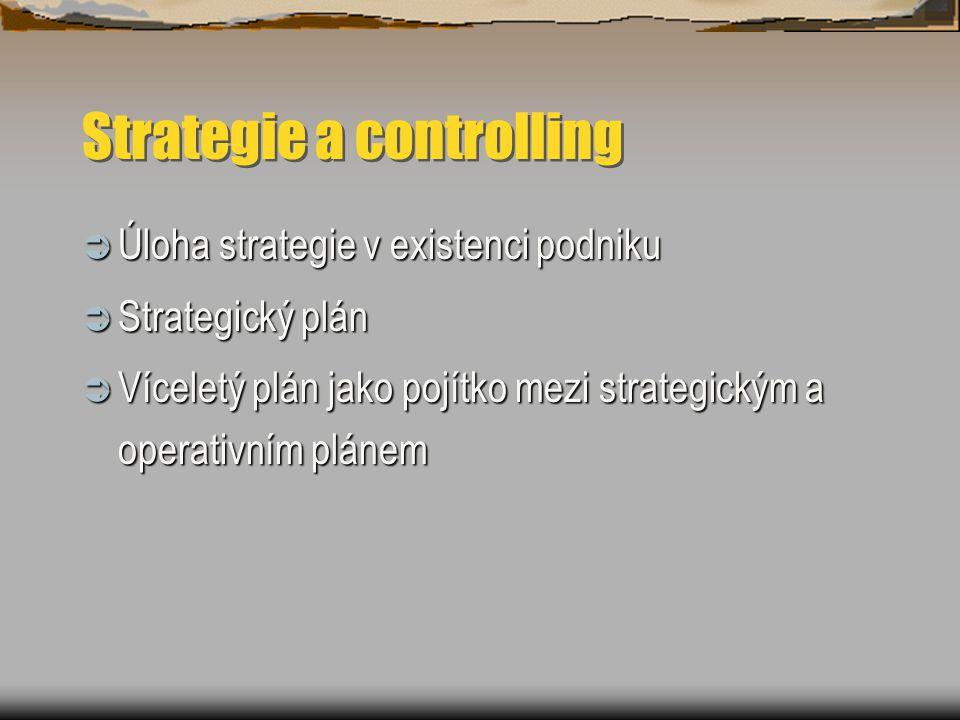 Strategie a controlling  Úloha strategie v existenci podniku  Strategický plán  Víceletý plán jako pojítko mezi strategickým a operativním plánem