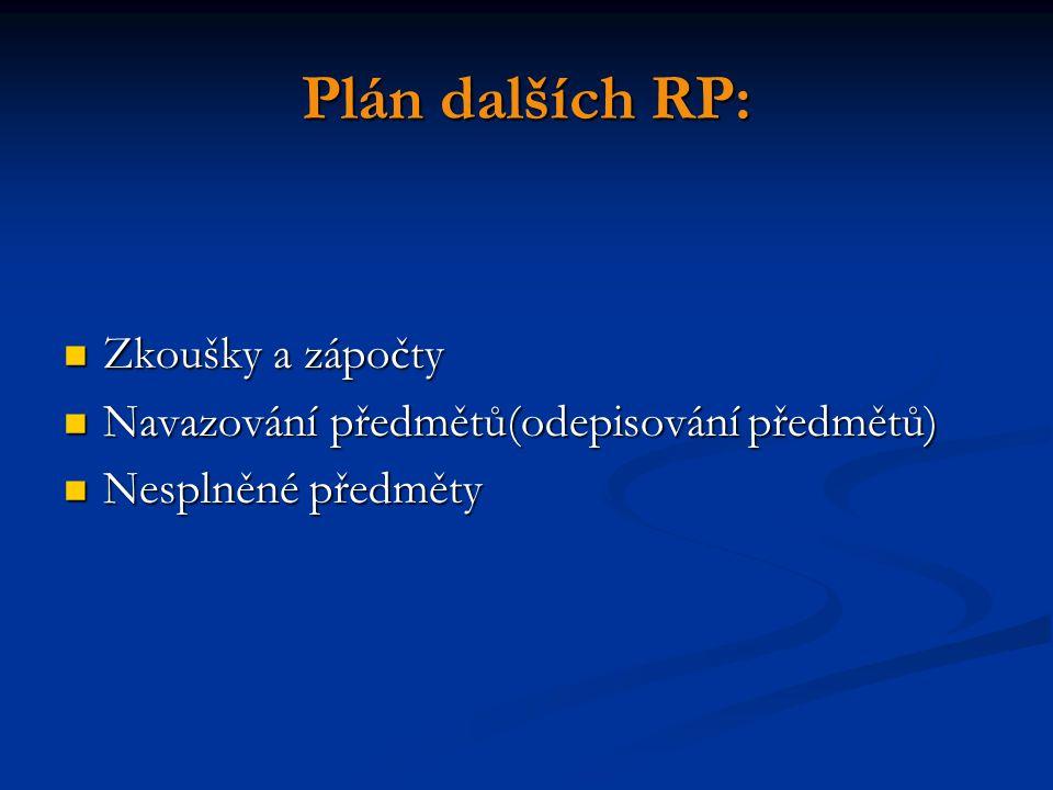 Plán dalších RP: Zkoušky a zápočty Zkoušky a zápočty Navazování předmětů(odepisování předmětů) Navazování předmětů(odepisování předmětů) Nesplněné pře