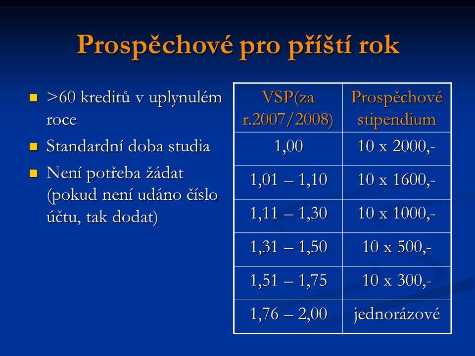Prospěchové pro příští rok >60 kreditů v uplynulém roce >60 kreditů v uplynulém roce Standardní doba studia Standardní doba studia Není potřeba žádat (pokud není udáno číslo účtu, tak dodat) Není potřeba žádat (pokud není udáno číslo účtu, tak dodat) VSP(za r.2007/2008) Prospěchové stipendium 1,00 10 x 2000,- 1,01 – 1,10 10 x 1600,- 1,11 – 1,30 10 x 1000,- 1,31 – 1,50 10 x 500,- 1,51 – 1,75 10 x 300,- 1,76 – 2,00 jednorázové