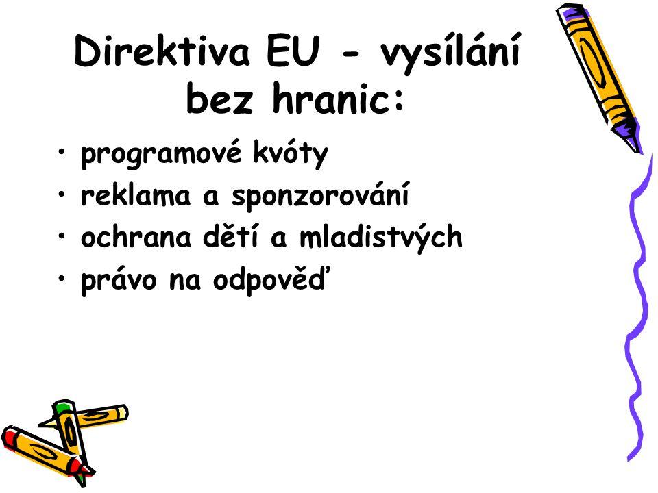 Direktiva EU - vysílání bez hranic: programové kvóty reklama a sponzorování ochrana dětí a mladistvých právo na odpověď