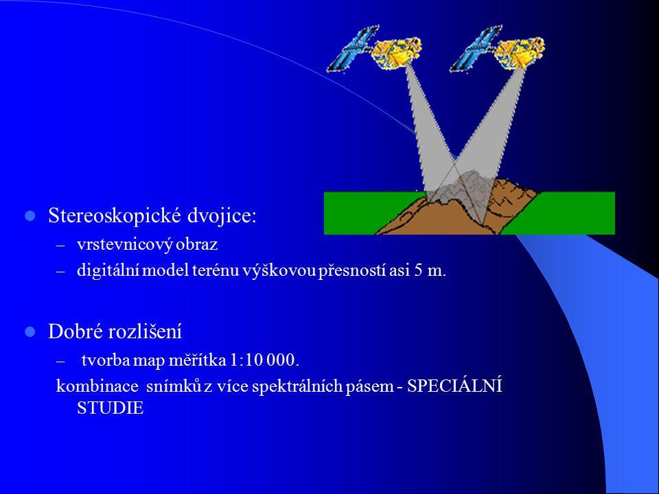 Stereoskopické dvojice: – vrstevnicový obraz – digitální model terénu výškovou přesností asi 5 m. Dobré rozlišení – tvorba map měřítka 1:10 000. kombi