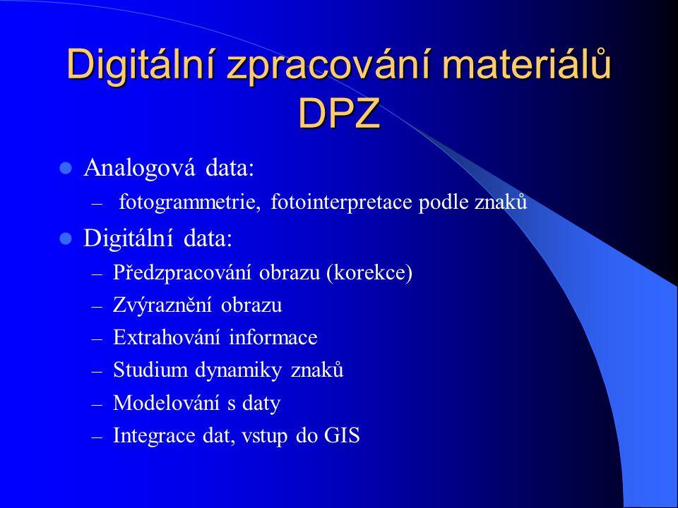 Digitální zpracování materiálů DPZ Analogová data: – fotogrammetrie, fotointerpretace podle znaků Digitální data: – Předzpracování obrazu (korekce) –