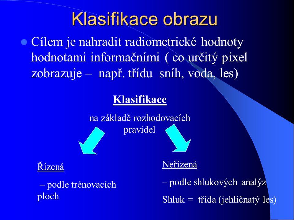 Klasifikace obrazu Cílem je nahradit radiometrické hodnoty hodnotami informačními ( co určitý pixel zobrazuje – např. třídu sníh, voda, les) Klasifika