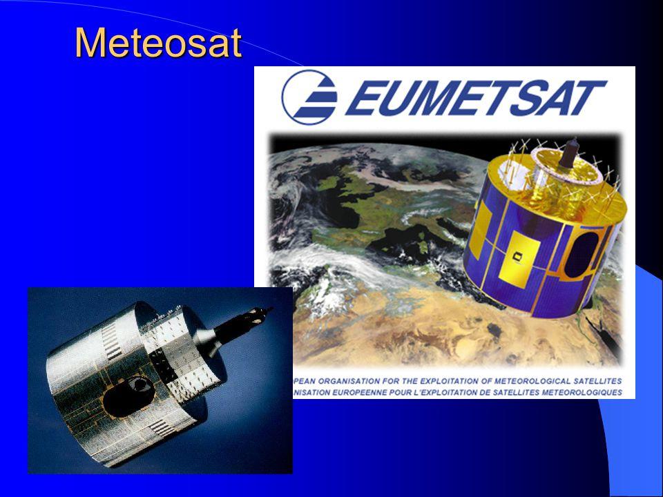 Meteosat Vybavení: radiometr pracující ve viditelném pásmu spektra s prostorovou rozlišovací schopností 2,5 km, v pásmu vodních par 5 km a v infračerveném pásmu 5 km