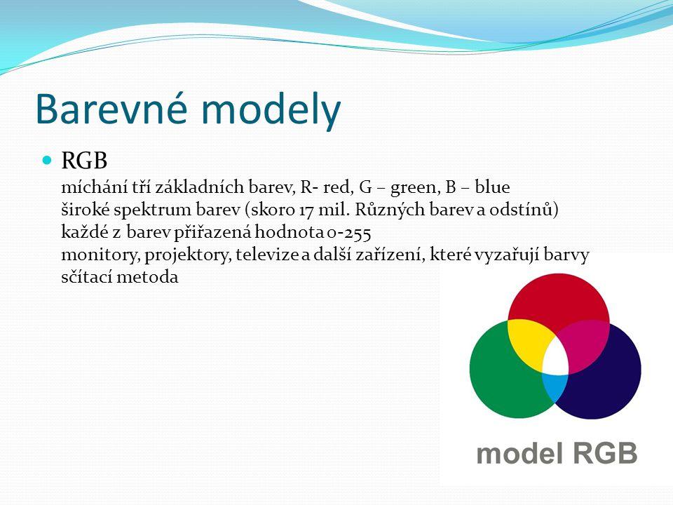 Barevné modely RGB míchání tří základních barev, R- red, G – green, B – blue široké spektrum barev (skoro 17 mil.