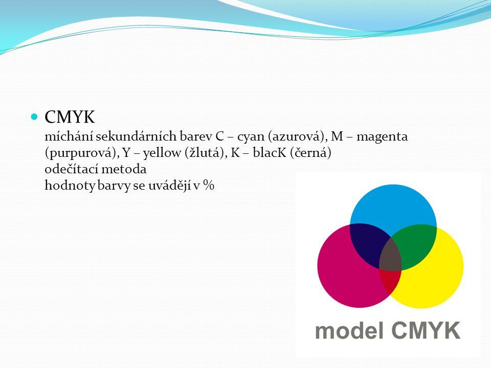CMYK míchání sekundárních barev C – cyan (azurová), M – magenta (purpurová), Y – yellow (žlutá), K – blacK (černá) odečítací metoda hodnoty barvy se u