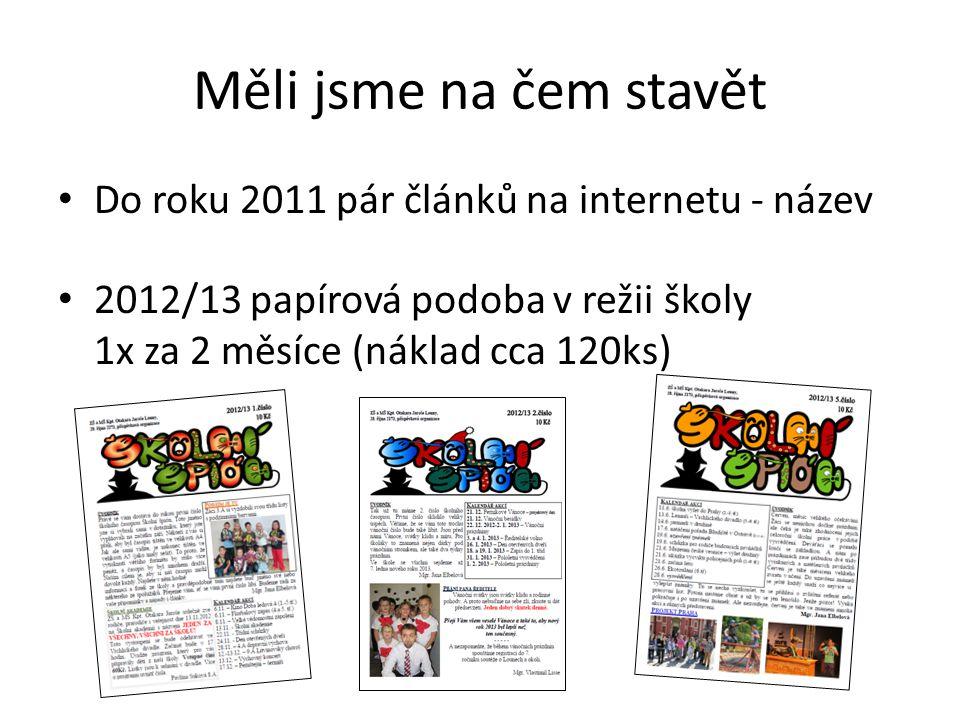 Měli jsme na čem stavět Do roku 2011 pár článků na internetu - název 2012/13 papírová podoba v režii školy 1x za 2 měsíce (náklad cca 120ks)