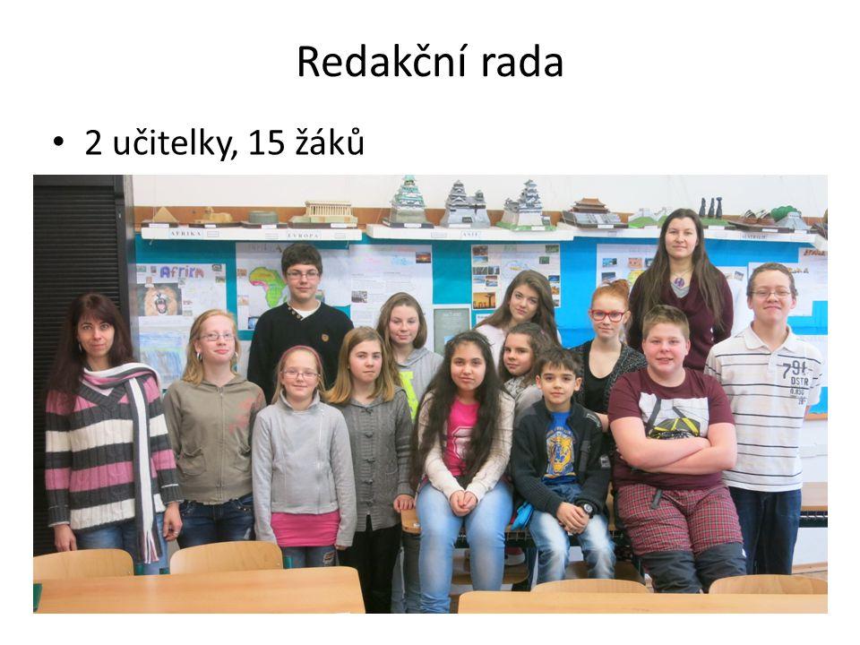Redakční rada 2 učitelky, 15 žáků
