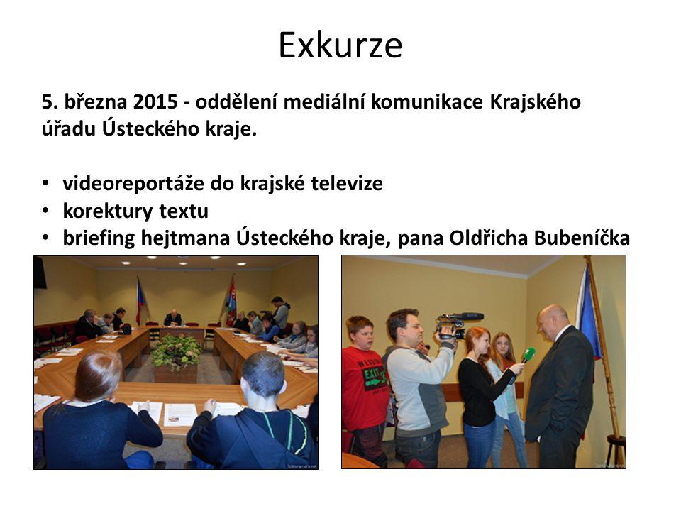 Exkurze 5. března 2015 - oddělení mediální komunikace Krajského úřadu Ústeckého kraje.