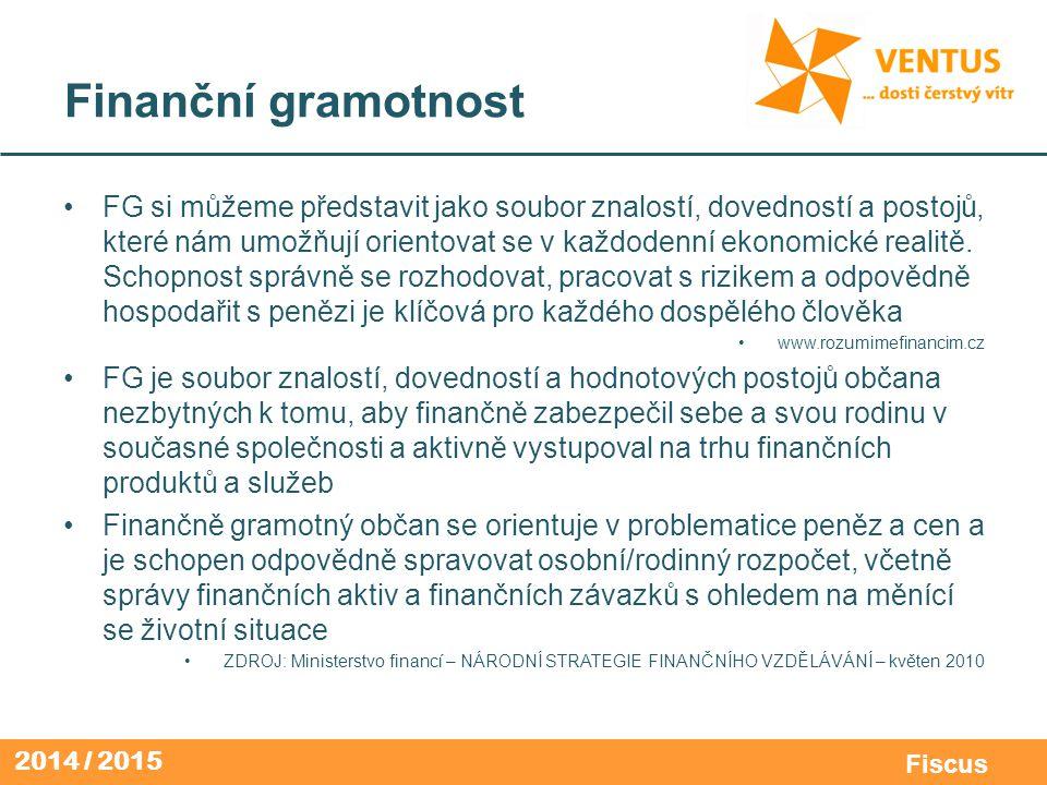 2014 / 2015 Fiscus Finanční gramotnost FG si můžeme představit jako soubor znalostí, dovedností a postojů, které nám umožňují orientovat se v každoden