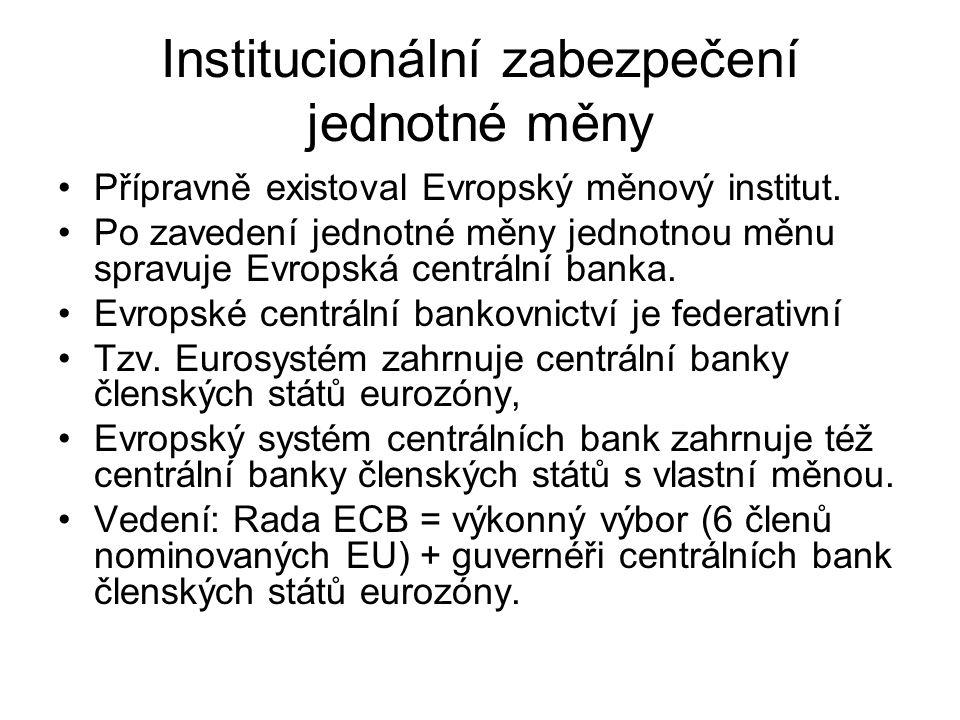 Institucionální zabezpečení jednotné měny Přípravně existoval Evropský měnový institut. Po zavedení jednotné měny jednotnou měnu spravuje Evropská cen