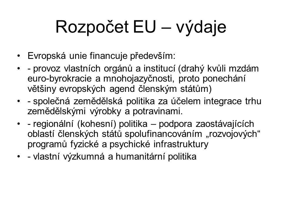 Rozpočet EU – výdaje Evropská unie financuje především: - provoz vlastních orgánů a institucí (drahý kvůli mzdám euro-byrokracie a mnohojazyčnosti, proto ponechání většiny evropských agend členským státům) - společná zemědělská politika za účelem integrace trhu zemědělskými výrobky a potravinami.