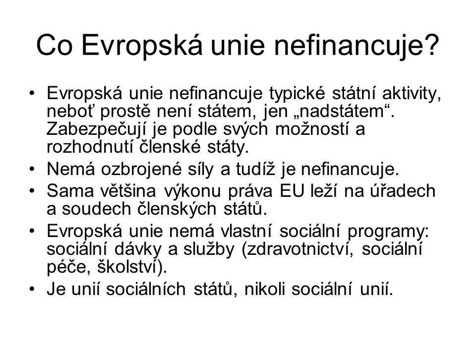 """Co Evropská unie nefinancuje? Evropská unie nefinancuje typické státní aktivity, neboť prostě není státem, jen """"nadstátem"""". Zabezpečují je podle svých"""