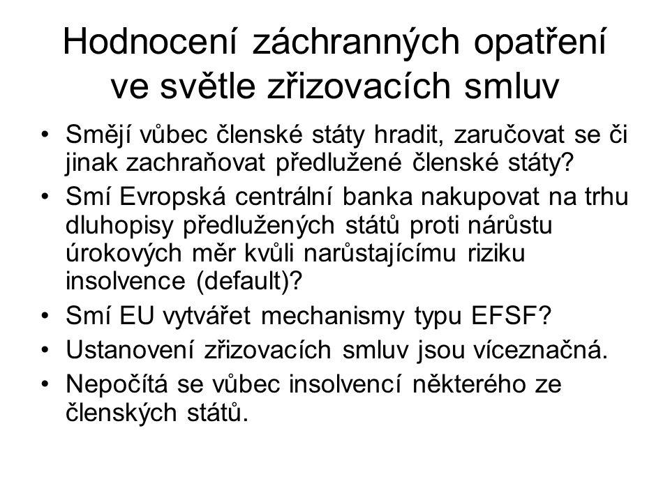 Hodnocení záchranných opatření ve světle zřizovacích smluv Smějí vůbec členské státy hradit, zaručovat se či jinak zachraňovat předlužené členské státy.