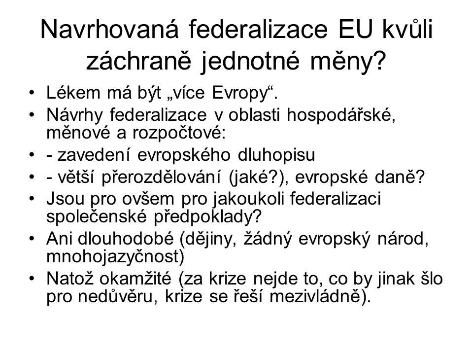 """Navrhovaná federalizace EU kvůli záchraně jednotné měny? Lékem má být """"více Evropy"""". Návrhy federalizace v oblasti hospodářské, měnové a rozpočtové: -"""