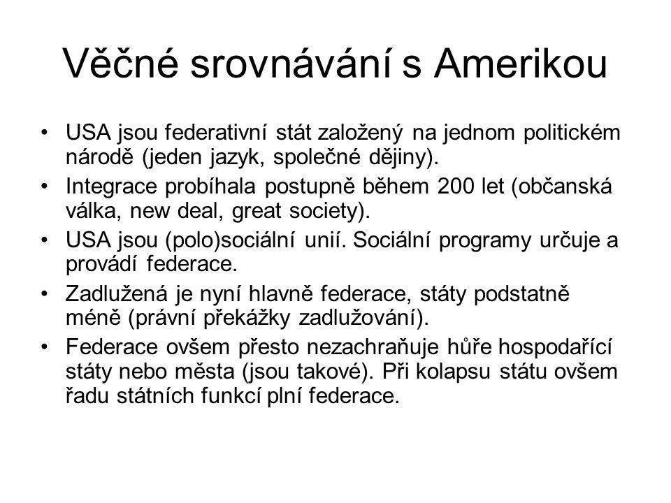 Věčné srovnávání s Amerikou USA jsou federativní stát založený na jednom politickém národě (jeden jazyk, společné dějiny). Integrace probíhala postupn