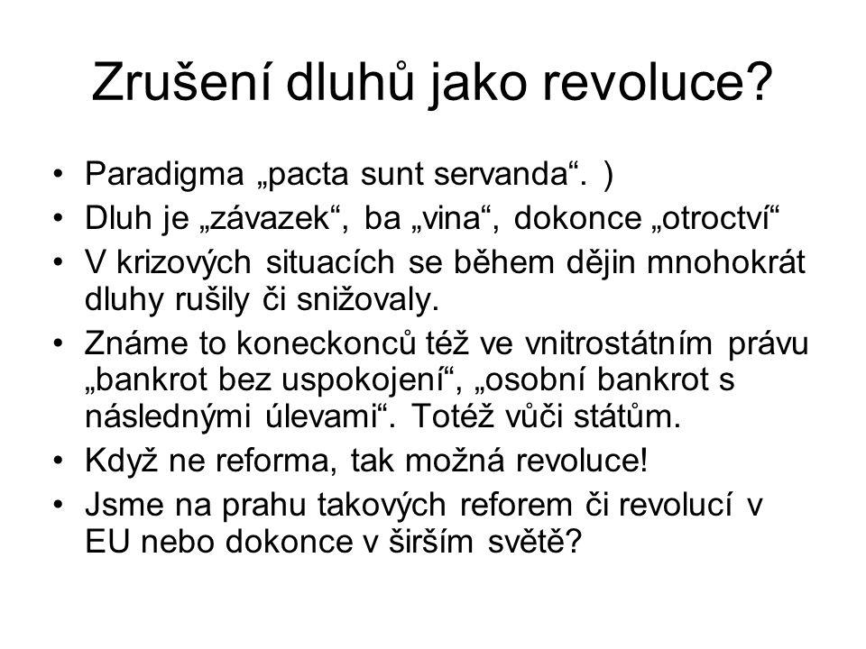 """Zrušení dluhů jako revoluce? Paradigma """"pacta sunt servanda"""". ) Dluh je """"závazek"""", ba """"vina"""", dokonce """"otroctví"""" V krizových situacích se během dějin"""