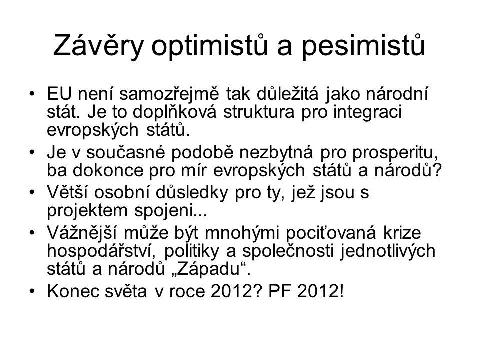 Závěry optimistů a pesimistů EU není samozřejmě tak důležitá jako národní stát. Je to doplňková struktura pro integraci evropských států. Je v současn