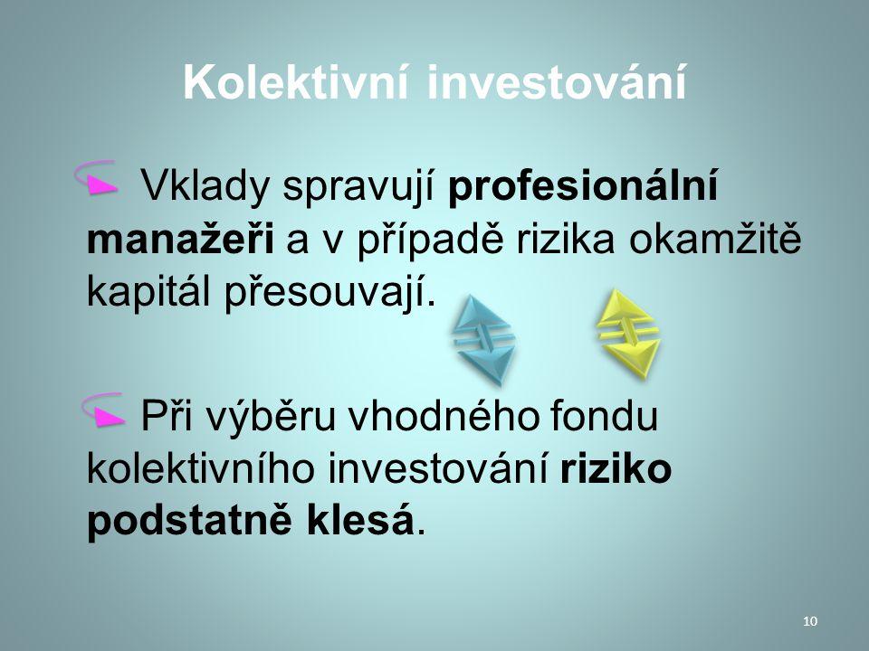 Investiční fondy Investiční fond je akciová společnost, jejímž předmětem podnikání je kolektivní investování.