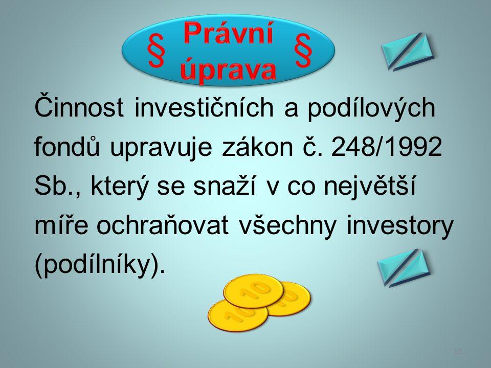 Podílový fond členíme: na otevřený podílový fond na uzavřený podílový fond 14